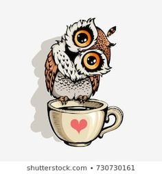 Owl with cup of coffee cute cartoon character, hipster print for t-shirts and bags, design element Illustration , Owl Coffee, Coffee Art, Cute Drawings, Animal Drawings, Cute Owl Drawing, Cute Owl Cartoon, Buho Tattoo, Owl Illustration, Owl Pictures
