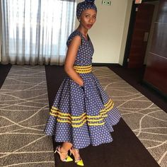 African Shweshwe Styles Trendy for Ladies - Fashion South African Dresses, South African Fashion, African Fashion Ankara, Latest African Fashion Dresses, African Dresses For Women, African Print Fashion, African Attire, African Prints, Xhosa Attire