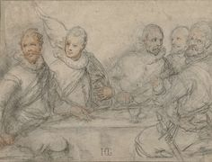 Hendrick Goltzius | Vijf officieren, studie voor een schuttersmaaltijd., Hendrick Goltzius, 1595 - 1605 | Links een officier met een spies, dan de vaandeldrager  met banier, de kapitein met een wapenstok en uiterst rechts een officier met een zwaard aan zijn zijde.