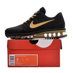 659c4b67c1ed Nike Air Max 2017 Men Black Gold Logo Running Shoes Running Shoes For Men