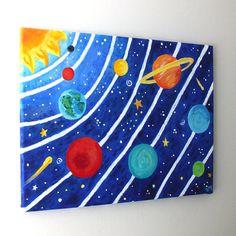 Art for Kids SOLAR SYSTEM No3 16x12 acrylic canvas by nJoyArt