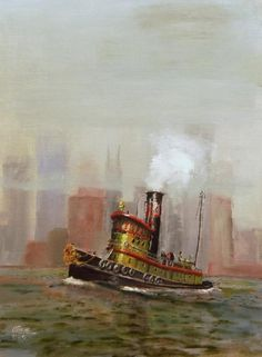 This is an oil painting of a New York City NYC tug by the the American artist Christopher Jenkins completed in 2009.