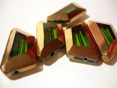 """4 Pieces Green Glass Beads with Gold Edging, Asymmetric Trapezoid Shape - $2 start bid in the Tophatter.com """"Supplies with a Surprise"""" LIVE auction. Join us for nightowl fun with realtime bidding! http://tophatter.com/auctions/14952"""