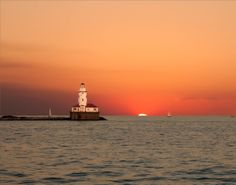 Lake Michigan Lighthouse at Dusk