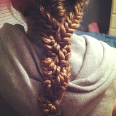 Super cool hair style! 3 fishtails braided together!