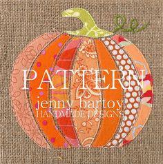 Pumpkin Burlap Art 9 x 9 inch Ready to ship by JennyBartoy
