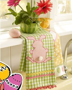 bunnies. no eggs. gingham. pink, green. fuzzy tail. I can make this.