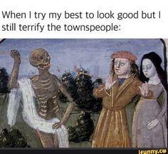 Goth Humor, Goth Memes, Funny Relatable Memes, Funny Posts, Medieval Memes, Art History Memes, Classical Art Memes, Stupid Memes, Funny Art