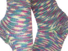 Knit socks rainbow socks socks with flower by Knitwoolsocks