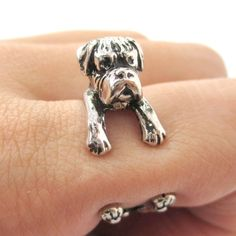 A+realistic+and+detailed+animal+ring!+It+is+made+in+the+shape+of+a+Boxer+puppy+wrapped+around+your+finger+in+shiny+silver! Half+sizes+are+also+available! --- Material: Enamel+Plated+Brass Sizing:++ -+All+rin. Animal Rings, Animal Jewelry, White Toy Poodle, Boxer Dog Puppy, Boxer Rescue, Dog Wrap, Super Cute Animals, Ceramic Pendant, Rings For Men