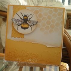 Card using free digi bee stamp, Darice embossing folders and memory box honeycomb mask.