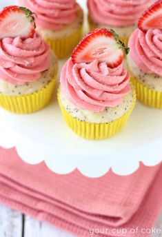 Lemon Poppy Seed Cupcakes with Strawberry Frosting