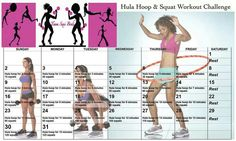 Hula hoop and squat workout challenge Fitness Herausforderungen, Group Fitness, Fitness Nutrition, Fitness Motivation, Fitness Goals, Hula Hoop Workout, Squat Workout, Workout Challenge, Workout Log