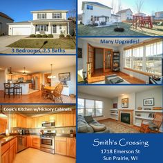 SUN PRAIRIE, WI Smith's Crossing - 3 Br, 2.5 Ba, Custom built w/upgrades! Open living rm w/gas FP/built-ins & cook's kitch w/hickory cabs, new stainless appliances. 6-panel doors, laminate flrs, mn flr mud/laundry, lg 2-car gar w/extra storage. Main flr flex rm & master ste w/private bath & walk-in. Unfin basement w/bath rough-in, level backyard w/beautiful paver patio & garden patch. 1718 EMERSON ST | #SUNPRAIRIE WI #53590 #PamWiden #pwiden #1797922