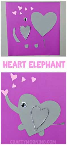 Heart Elephant Valentine Craft - Adorable heart shape animal art project for the kids to make on Valentine's Day! #craftsforkidstomake