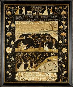 Sampler, by Patty Coggeshall, ca. 1792, Bristol, RI. From the collections of the Metropolitan Museum of Art.