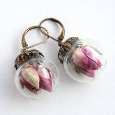 Glass dome dangle earrings filled with real dried by DonsterShop, $21.00