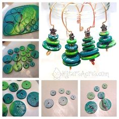 Polymer Clay Christmas Tree Ornaments from Scrap Clay