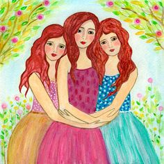 Stampa artistica di tre sorelle tre sorelle migliore amico