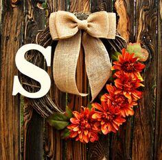 Autumn Orange Flower Wreath with Monogram - Initial Wreath - Grapevine Wreath - Fall Wreath