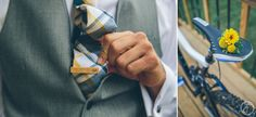 groom with bicycle tie clip // yellow boutineer
