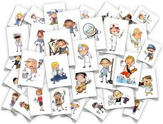 jobs flash cards - too cute!