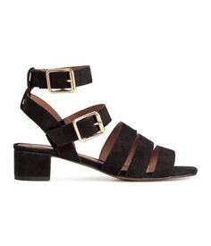 Suede Sandals | Black | Ladies | H&M US
