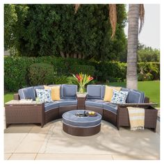 Madras Tortuga Outdoor Wicker Sectional Set with Ottoman by Christopher Knight Home Navy with Ice Bucket Ottoman), Blue, Patio Furniture (Aluminum) Patio Furniture Cushions, Outdoor Cushions And Pillows, Outdoor Sofa, Outdoor Living, Outdoor Furniture Sets, Outdoor Decor, Seat Cushions, Modular Furniture, Furniture Assembly