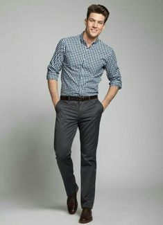 Checked shirt and suit pants men's sexy fashion look