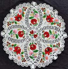 31d0062582 Hungarian Richelieu Hand embroidered Lace Tablecloth round / 55 cm