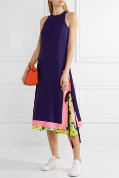 Multicolored crepe Concealed hook and zip fastening at back 53% acetate, 47% viscose Dry clean Made in Italy