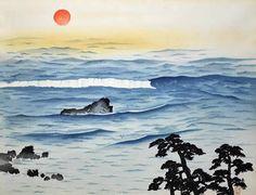 'Sun Rising above the Ocean' woodcut by Taikan YOKOYAMA ・  Category■woodcut ・ Theme■sun, sunrise, sea, ocean, wave ・