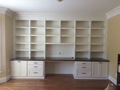 Custom Desk with Shaker Doors & Filing Drawers, Slab Drawers, Stain Maple Countertop & Adjustable Shelves desk With Drawers Office Built Ins, Office Bookshelves, Office Shelf, Desk Shelves, Bookshelves Built In, Built In Desk, Bookcase Desk, Office Shelving, Storage Shelves