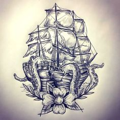 An awesome nautical tattoo design of a ship eaten by Kraken. Style: Black and Gray. Color: Gray. Tags: Nice
