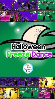 Boo! It's a Halloween Freeze Dance brain break and movement activity for Halloween movement activities. Imagine dancing and freezing to spooky Halloween music to burn off some Halloween scary energy! Coloring sheets and Flashcards provide a variety of teaching opportunities for students to learn action verbs, dynamics and play games. This complete package is perfect for SUB TUBS and Halloween Spookiness! Kindergarten Music Lessons, Preschool Music Activities, Preschool Literacy, Movement Preschool, Movement Activities, Halloween Music, Spooky Halloween, Line Up Chants, Freeze Dance