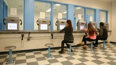 Visitors use a video system to set up appointments to see inmates at the Lake County jail in Waukegan, IL