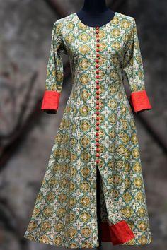 an elegant anarkali in lemon yellowhand-block printed bagruand fabricbuttons and tangerine orangemangalgiri border and sleeve cuffs! orangedupatta - on r