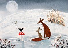 Original Watercolour Painting - ANIMALS: FOX, HARE & BLACKBIRD IN THE MOONLIGHT | eBay