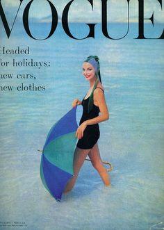 Gretchen Harris covers Vogue UK, July 1957.