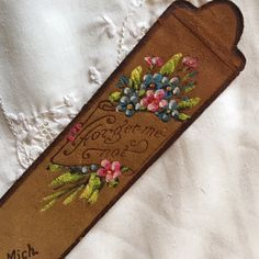 Vintage book mark, leather bookmark, victorian bookmark, souvenir bookmark, forget me not bookmark, floral bookmark, bookreader's gift by LittleBeachDesigns on Etsy