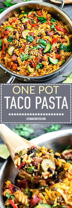 One Pot Taco Pasta Skillet makes the perfect easy weeknight meal.  delicious and easy Best of all, everything cooks up in just ONE PAN, even the pasta. Made with all your favorite taco flavors cooked and so simple to customize with your favorite vegetables. Leftovers are great for school lunchboxes or work lunch bowls or make it for Sunday meal prep.