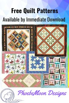 Great free patterns from PhoebeMoon! Includes lap quilts, table runners, mystery quilts, bowl cozies and more. Lap Quilts, Panel Quilts, Mini Quilts, Quilt Blocks, Quilting For Beginners, Quilting Tips, Attic Window Quilts, I Spy Quilt, Applique Quilt Patterns