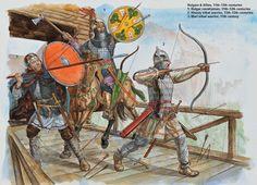 Bulgars & Allies, XI-XII c. 1: Bulgar cavalryman, XI-XII c. 2: Khanty tribal warrior, XI-XII c. 3: Mari tribal warrior, XI c.