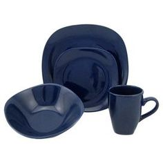 Sixteen-piece stoneware dinnerware set in blue. Product 4 Dinner plates4 Salad plates4  sc 1 st  Pinterest : sango 40 piece dinnerware set - Pezcame.Com