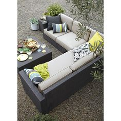 Ventura Modular Right Arm Loveseat with Sunbrella® Stone Cushions in Ventura | Crate and Barrel