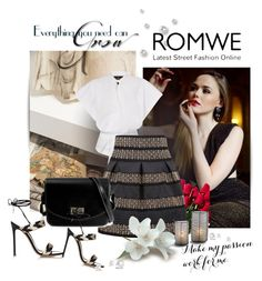 """""""Black High Waist Rivet Studs Striped Skirt"""" by ramiza-rotic ❤ liked on Polyvore featuring H&M, Tom Ford, Hanky Panky and Gianvito Rossi"""
