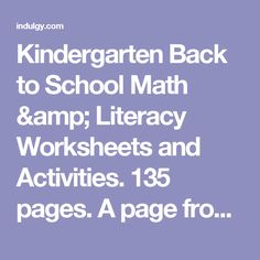 Kindergarten Back to School Math & Literacy Worksheets and Activities. 135 pages. A page from the unit: Number match cut and paste Numbers 1-5