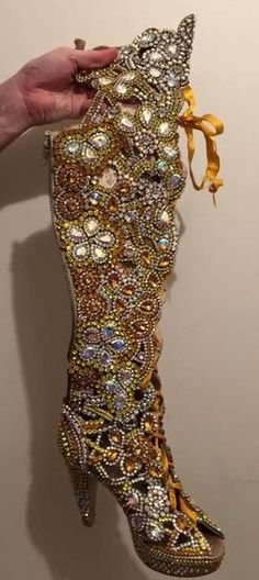 Dazzling Samba Boots Stones & Crystal - Special Request Only - Leather