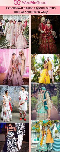 8 Coordinated Bride & Groom Outfits That We Spotted on WMG! | WedMeGood #wedmegood #indianwedding #indianbride #lehenga #lehengacholi #groom #outfits #weddingdress