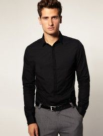 grey slim fit shirt, black skinny tie, blue pants, black belt ...